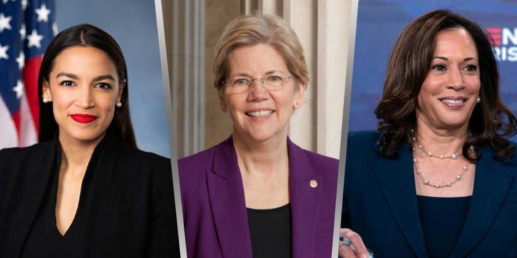 Alexandria Ocasio-Cortez, Elizabeth Warren, Kamala Harris